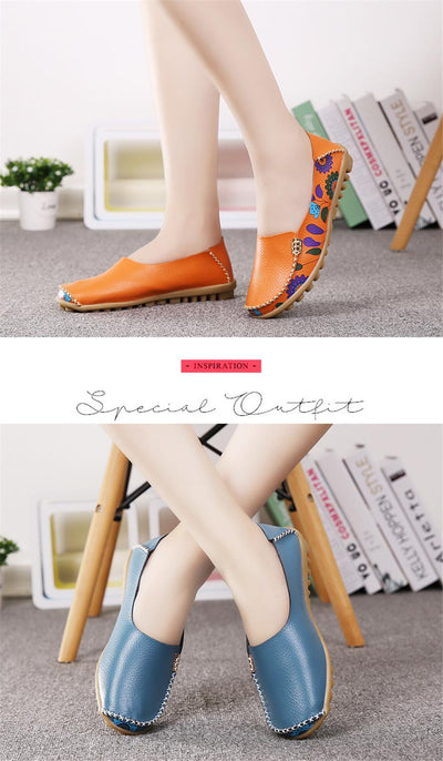 STQ 2020 Autumn Women Flats Genuine Leather Shoes Slip On Ballet Flats Ballerines Flats Woman Shoes Moccasins Loafers Shoes 170