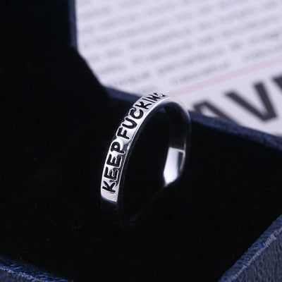 2019 New Fashion 925 Sterling Silver Simple Punk Rock Hip Hop Silver Ring for Men Women Engraved Letter Streetwear Rings Jewelry