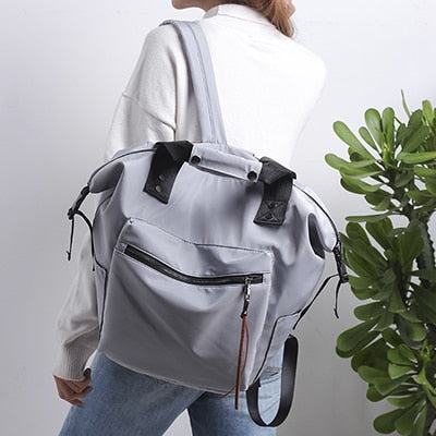 Fashion Nylon Waterproof Backpack Women Large Capacity Schoolbags Casual Solid Color Travel Laptop Backpack Teen Girls Bookbags