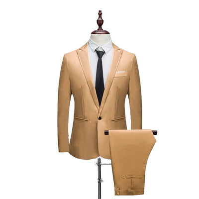 New Male Spring And Autumn Thin Section Pure Color Groom Tuxedos Wedding Suits (Jacket+ Pant) Casual Slim Fit 2 Pieces