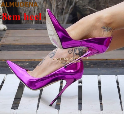 ALMUDENA 12cm Fluorescent Purple Pointed Toe Pumps Stiletto Heels Patent Leather Shallow Dress Shoes Iridescent Wedding Heels