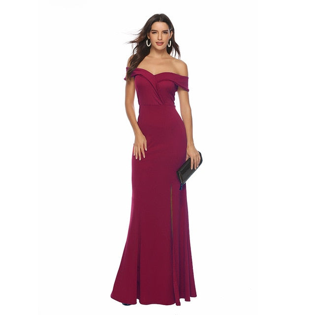 Off Shoulder Bridesmaid Dress Elegant Party Dress Slit Pink Long Maxi Dress Sexy Vestido de Fiesta Robe de Soiree YSM-5175