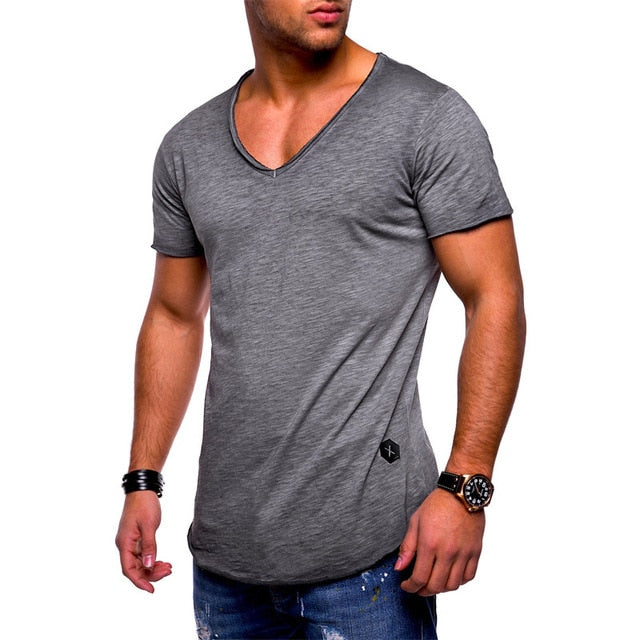 2019 fashion men's T-shirt Slim custom T-shirt brand design fashion luxury V-neck fitness casual T-shirt Slim fit T-shirt men