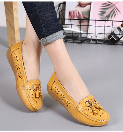 dobeyping 2018 Hollow Summer Shoes Woman Real Leather Women Flats Slip On Women's Loafers Breathable Female Moccasins Shoe 35-41