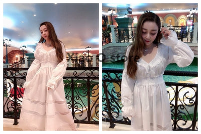 Lady Nightgown Retro Elegant Nightgowns Vintage Women Lace White Sleepwear Dress Cotton Long sleeved Nightdress Gentlewoman