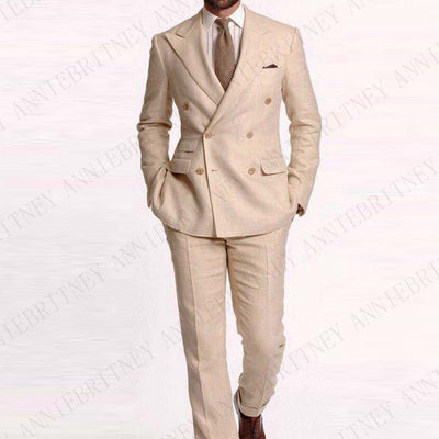 ANNIEBRITNEY Tailor Made Sky Blue Men Suit Slim Fit Casual Groom Prom Blazer Pants Beach Summer Style Tuxedo Custom Big Size Set
