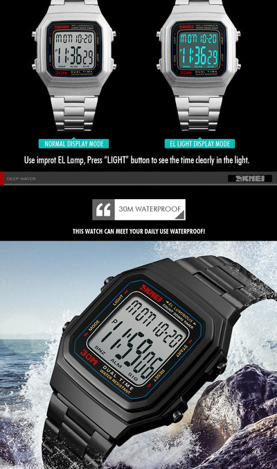 SKMEI Watch men top brand luxury Digital Sports Watches Countdown Electronic Outdoor LED Men Watch Relogio Masculino