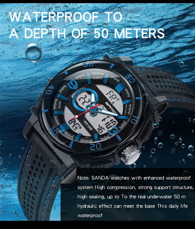 SANDA New Mens Sports Watches Luxury Brand Thermometer Military Quartz Digital Watch Men S Shock Dual Display Watches Relogio