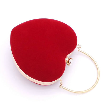 LJL Heart Shaped Diamonds Women Evening Bags Chain Shoulder Purse Day Clutches Evening Bags For Party Wedding