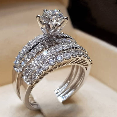 Modyle Elegant Wedding Engagement Rings Set 2 PCS Silver Anniversary Accessories With Full Shiny Cubiz Zircon Stone