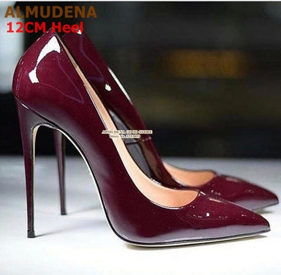 ALMUDENA Brand 12 10 8cm Stiletto Heel Pumps Patent Leather Dress Shoes Pointed Toe Thin Heel Designer Wedding Shoes Size45