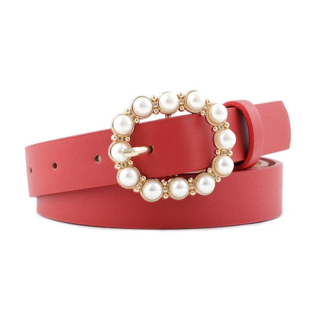 Fashion Pearl Decorative Belt Ladies Belt  Round Pin Buckle Pearl Belts Women's Casual Solid PU Leather Thin Belt
