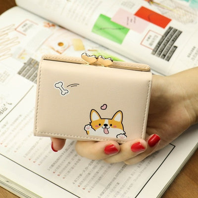 Cartoon Cute Corgi Wallet Women Card Holder Ladies Wallet Purse Leather Money Bag Women Wallets Coin Pocket Cartera Mujer W073