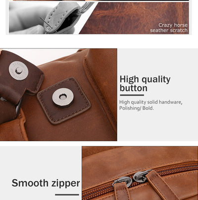 "Travel Laptop Men Backpack Business PU Leather Bag for 14"" Computer Water Resistant School College Backpacks Male Zipper Solid"