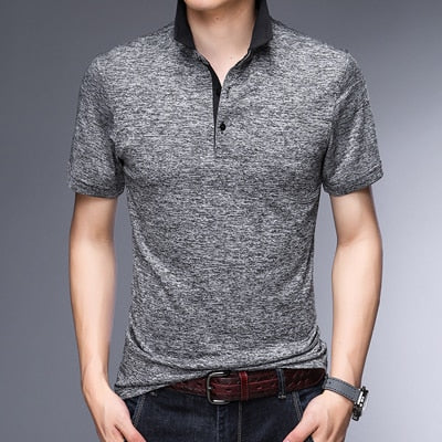 MIACAWOR Original Men  Polo shirts Fashion Solid Tee shirt Homme Slim Fit Camisa  Short-sleeve  Homme Men Tops Tees T748
