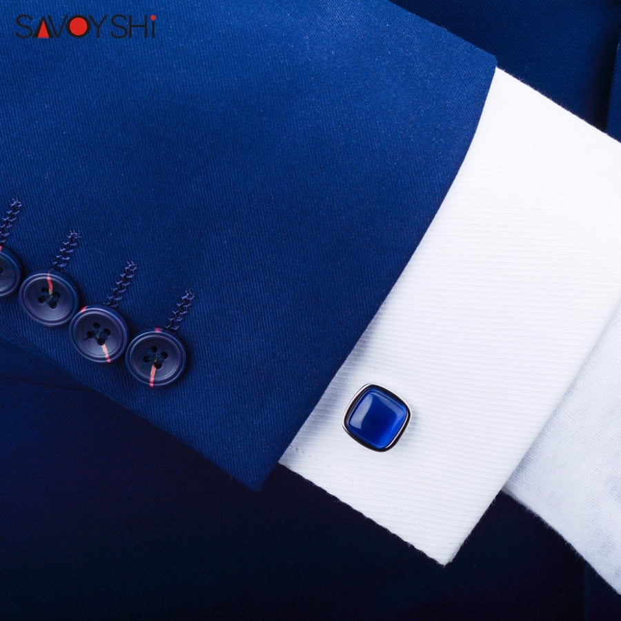 SAVOYSHI Blue Opal Stone Cufflinks for Mens Shirt Cuffs High Quality Square Cuff links Wedding Grooms Gift Free DIY Jewelry