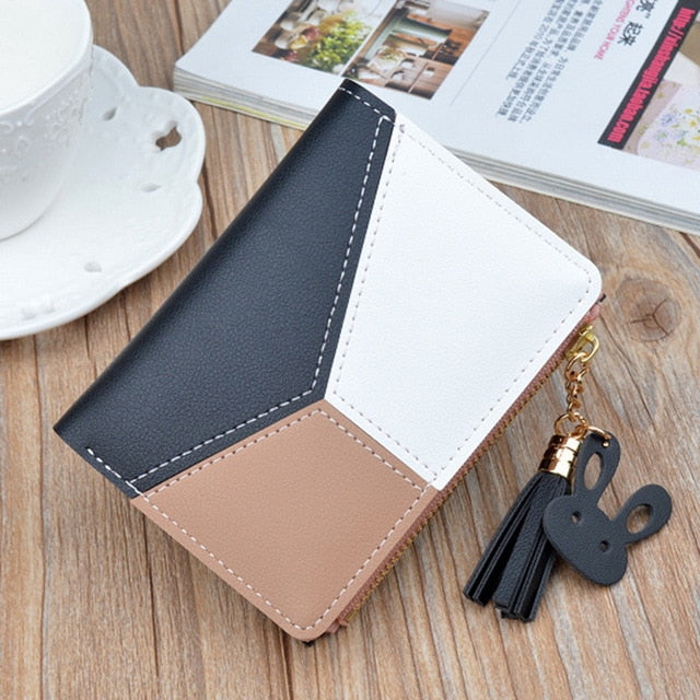 Leather Wallet Women Luxury Long Clutch Ladies Purse Card Holder Tassel Women Wallets  Zipper Coin Phone Money Pocket Bag W052