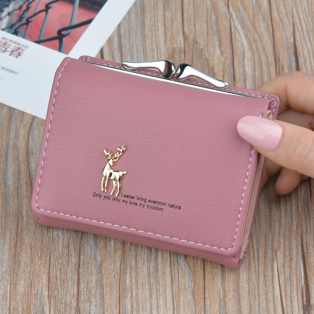 2019 Cartoon Leather Women Purse Pocket Ladies Clutch Wallet Women Short Card Holder Cute Girls Deer Wallet Cartera Mujer W061