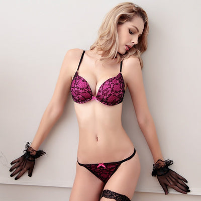 Deep V Lace Surface Push Up Sexy Bra Panty Sets Matching Bow G-string Comfortable Underwear Women Lingerie Set Intimates