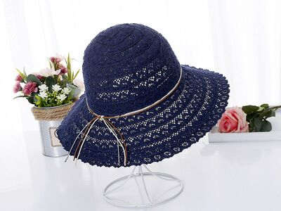 Summer fashion Foldable Bucket cap Cotton Beach bow sun hats for Women Fashion Women Beach Sun Hat Foldable Brimmed Straw Hat