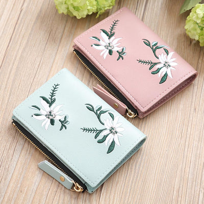 2019 Women Leather Wallet Mini Flower Bag Money Organizer Short Luxury Brand Wallet with Zipper Small Embroidery Holders W068