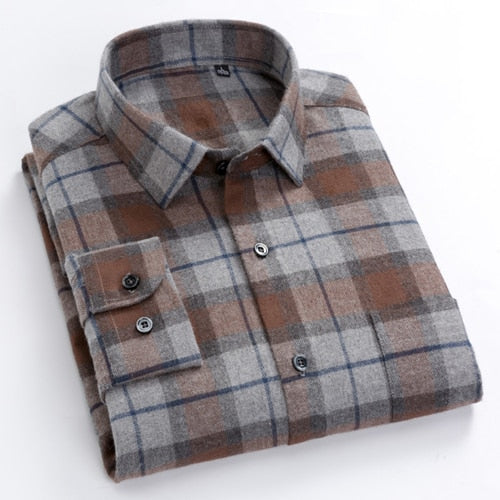 Men's Brushed Long Sleeved Check Plaid Shirt Patch Chest Pocket Standard-fit Checkered Comfortable Cotton Thick Casual Shirts