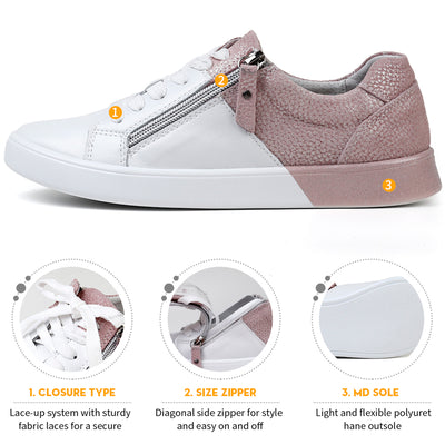 STQ 2020 New arrival women flat shoes zip genuine leather shoes woman spring autumn mixed color fashion sneakers female FY16010
