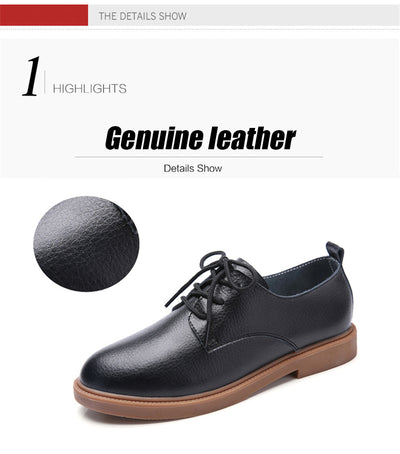 STQ 2020 Autumn Women Loafers Comfort Genuine Leather Flats Shoes Lace Up Woman Moccasins Oxfords Work Shoes Free Shipping 838