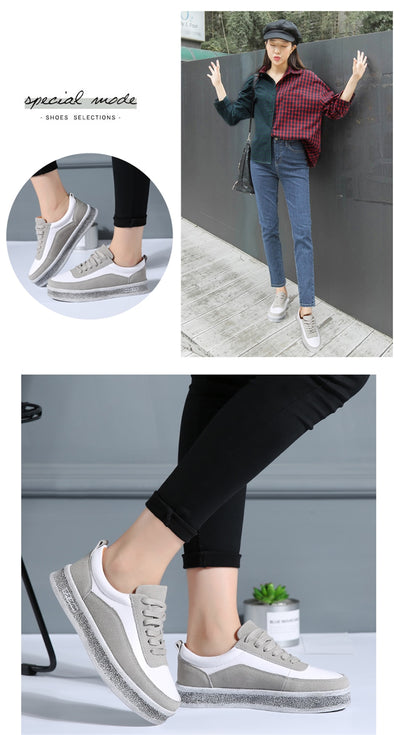STQ 2020 Spring Women Casual Sneakers Shoes Lace Up Suede Leather Flats Shoes Women Oxfords Platform Creepers Boat Shoes 1706