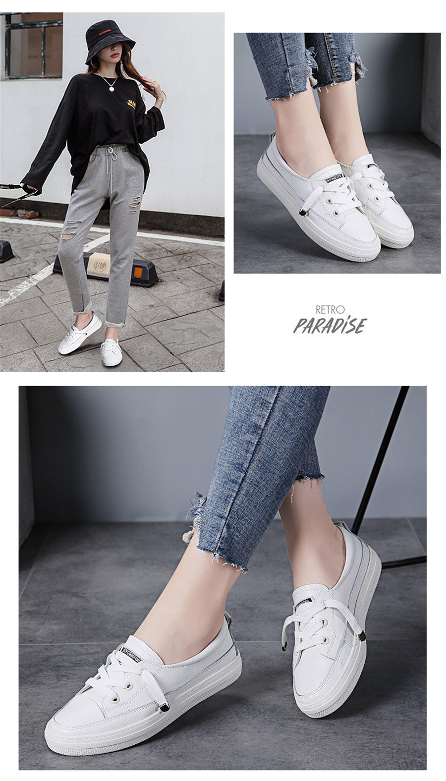 STQ Autumn Women Flats Sneakers Shoes Ladies Lace-up Casual Shoes PU Leather Shoes Women Casual White Shoes Sneakers 768