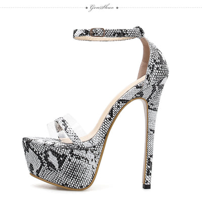 GENSHUO 2019 Serpentine Platform Stiletto High Heels Sandals Summer Sexy Ankle Strap Open Toe Gladiator Party Dress Women Shoes