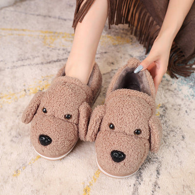 YMECHIC Large Size 2019 Home Winter Flat Woman Shoes Womens Slippers Indoor Cartoon Dog Cute Mules Family Bedroom Furry Slippers