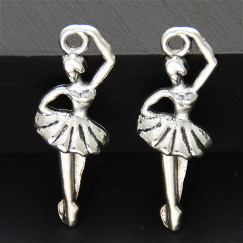 30pcs Antique Silver Dancer Charm Ballet Girl Pendants Making DIY Handmade Jewelry A670