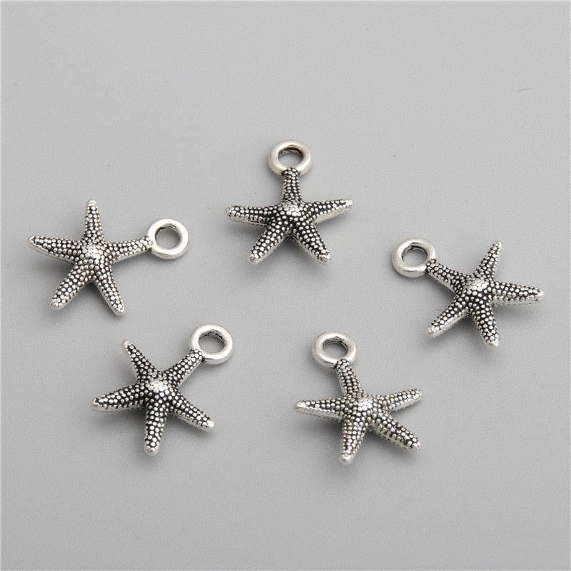 50pcs Antique Silver Starfish Charms Pendant For Necklace Bracelets Jewelry Making Diy Handmade Craft  A2775