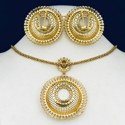 ModemAngel Luxury Sunflower Cubic Zircon Nigerian Necklace Earring Jewelry Sets Women Wedding Indian Dubai Bridal Jewelry Set