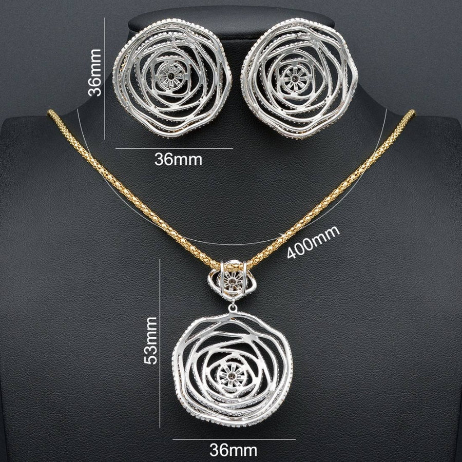 ModemAngel Spider Web Line Fashion Earring Full Cubic Zircons Copper Earring Necklace Jewelry Set Wedding Party African