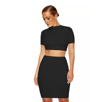 ANJAMANOR Bodycon Sexy Womens 2 Piece Sets 2019 Summer Crop Top and Skirt Matching Sets 2pcs Set Night Club Outfits D53-AZ93
