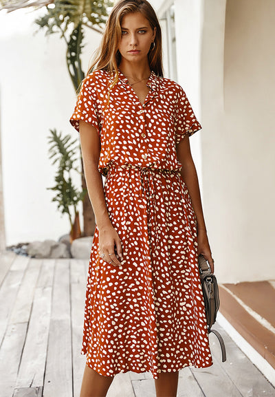 Dots Print White Summer Dress Women 2020 New Short Sleeve Tunic Vintage Midi Dress Casual Holiday Boho Beach Dress Vestidos