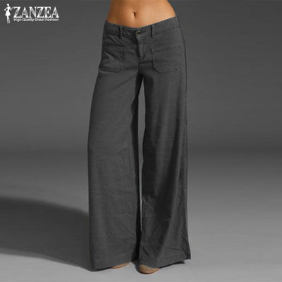 Button Front Summer Trousers 2020 ZANZEA Fashion Women's Wide Leg Pants Kaftan Solid Turnip Causal Turnip Pantalon Plus Size