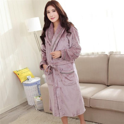 Winter Thick Warm Female Coral Fleece Kimono Robe Lovers Couple Nightgown Bath Gown Sleepwear Men Large Nightwear M L XL XXL 3XL