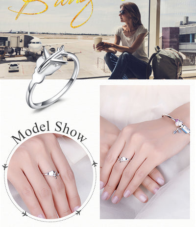 JewelryPalace Global Airplane Ring 925 Sterling Silver Rings for Women Open Stackable Rings Silver 925 Jewelry Fine Jewelry