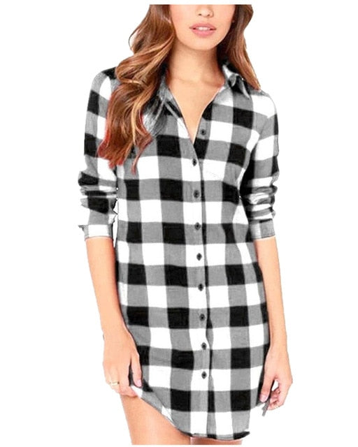 Plaid Blouses Shirts Women Plus Size Zanzea 2020 Casual Turn-down Collar Top Single Breasted Long Tops Loose Shirts Blusas S-6XL