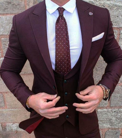 (Jacket+Pant +vest)Burgundy Mens Suits Groom Wear Tuxedos 3 Piece Wedding Suits Groomsmen Best Man Formal Business Suit For Men