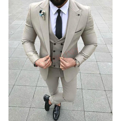 2020 Designers Fashion Men Suit Slim Fit Prom Wedding Suits for Men Groom Tuxedo Jacket Pants Set White Gray Casual Man Blazer