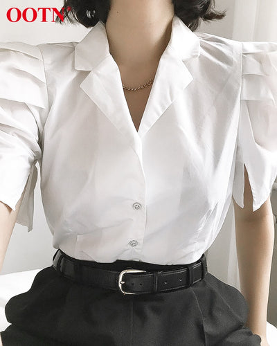 OOTN White Puff Sleeve Womens Tops And Blouses 2020 Fashion Spring Summer Blouse Ladies Solid Short Sleeve Shirt Female Tunic