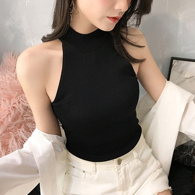 Crop Tank Tops Female women 2020 Sexy Solid Knitting Tops Woman Clothes Summer Black Top Women Camiseta mujer