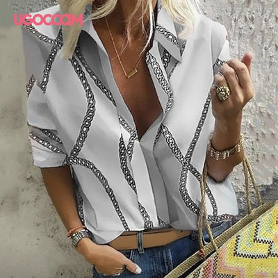 UGOCCAM Women Blouse Long Sleeve Shirt Print Office Turn-down Collar Blouse Elegant Work Plus Size Tops Fashion Women Tops