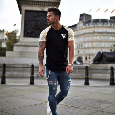 YEMEKE Brand T-Shirts 2019 Summer Short Sleeve O-neck Stripe Printed Loose Slim T shirt Mens Tops Tee