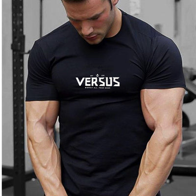 New Fashion stitching Gyms Bodybuilding Sporting T-shirts Men Short Sleeve Fitness Men's Solid High Quality T-shirts