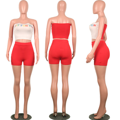 2019 Summer Two Piece Outfits for Women Letter Print Sexy Set Crop Top and Short Pants Club Matching Sets biker shorts Plue suze